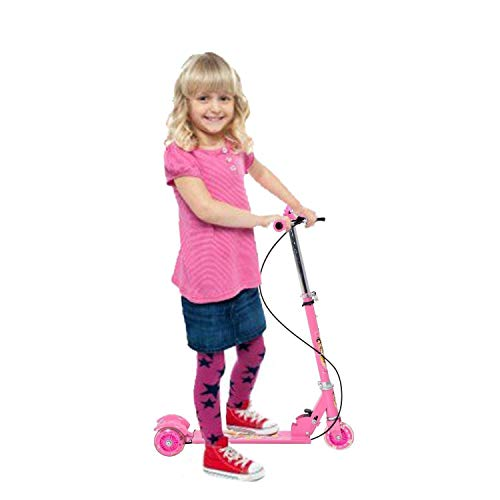 Dhyan Basic Kids Ride On Leg Push Scooter Cycle and Road Runner for Boys and Girls (4 - 8 Years Old Kids) 3 Wheel Foldable Scooter Cycle with Height Adjustment (Multi-Color) (Pink)