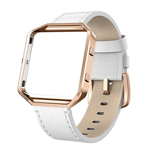 SWEES Leather Bands Compatible with Blaze Smart Watch, Genuine Leather Replacement Band with Metal Frame Small & Large for Women Men, Champagne Gold, Rose Gold, Black, Brown, White, Grey, Beige