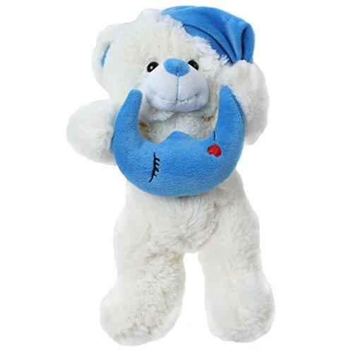 TE-Trend Peluche Animal de Peluche Osito de Peluche Teddy Schlafe Bonito Estrellas Luna Media Tapa Rosa Azul, Animales de Peluche - Osito Blanco con Luna Azul