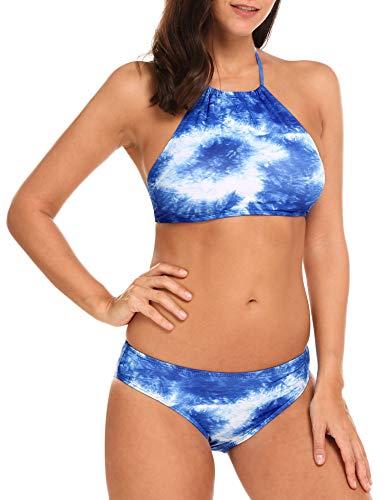 Ekouaer Womens Forest Leaves Printing High Neck Halter Bikini Set Swimsuit Light Blue