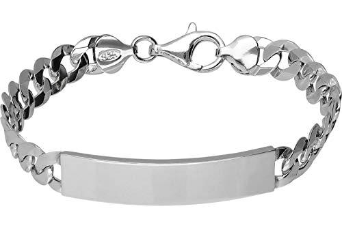 FILANGO Schmuck 925er Silber | ID-Armband mit Gravurplatte | rhodiniert & hochglanzpoliert | Breiten- & Längenauswahl