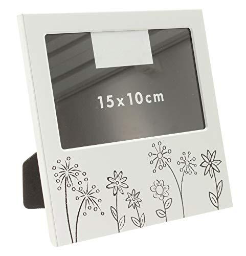 MIK funshopping Bilderrahmen Fotorahmen aus Aluminium für Fotos 10x15 Liebe Familie Hochzeit Schutzengel (Blumenwiese)