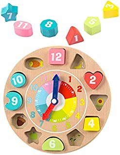 Delicate Clock,Wall Clocks Toy Clock Educational Wooden Colorful Early Learning Clock Time Kids Toys For Toddlers Toy Gift...