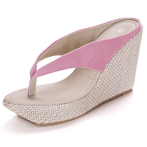 Donalworld donna estate spiaggia scarpe T strap spessa suola sandali infradito zeppa sandali, Rosa (Pink), 41 EU