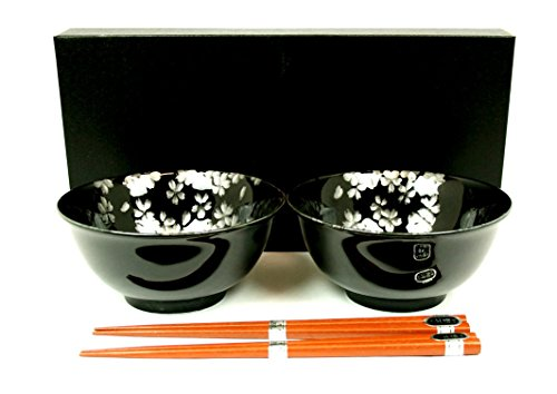 Suppenschüssel-Set KUROJI-SAKURA Porzellan-Schalen hergestellt in Japan Ø 15,2 cm, H. 7 cm