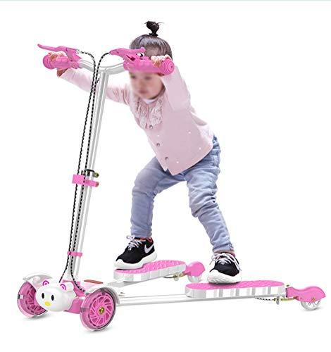 Scooter Infantil de Cuatro Ruedas de Tijera, Music Flash de Cuatro Ruedas Frog Car Pies Swinging Slide Frog Car, Diseño Plegable Infantil, Fitness para niños Mayores de 3 años