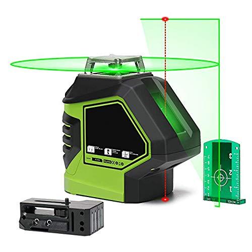 YLIK Autonivelante Nivel láser Verde Línea 360 Cruz con 2 Puntos de plomada línea...