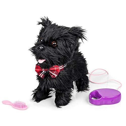 Animigos 28779 Scurrying Scotty, süßer schwarzer Plüschhund, Terrier mit roter Fliege, ca. 22 cm groß, kann laufen und bellen, mit Bürste und Leine, für Kinder ab 18 Monaten