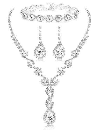 LOYALLOOK Women's Rhinestone Teardrop Necklace Bracelets and Dangle Earrings Jewerry Sets for Proms Weddings