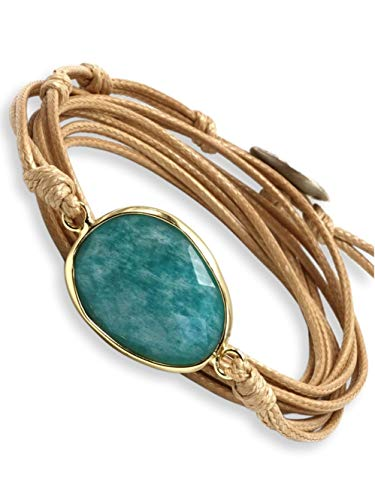 BENAVA Damen Wickelarmband mit Amazonit Stein Anhänger | Yoga Armband Schmuck Edelstein Türkis Beige Silber | Meditation Boho Damenarmband