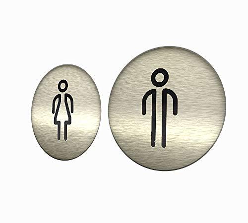 DOJA Barcelona | Cartel para Baño | Hombre + Mujer | Color Plateado | 100mm Diámetro | Simbolo Adhesivo WC para Puerta | Placa Pegatina para Aseo, Aseos Cartel, Vinilo Adhesivo, Señal de Lavabo
