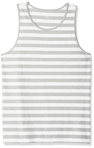 Amazon Essentials Débardeur uni à coupe ajustée pour homme, Light Gray Heather/White Stripe, US XXL (EU XXXL - 4XL)