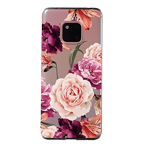 Amocase Cute Floral Case with 2 in 1 Stylus for Huawei P20 Lite,Stylish Ultra Thin Sweet Flowers Soft Rubber Silicone TPU Shockproof Anti-Scratch Flexible Clear Case White Mandala