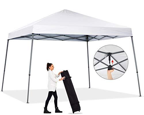 ABCCANOPY - Toldo plegable portátil para exteriores, 10 x 10, con bolsa compacta con ruedas, color blanco
