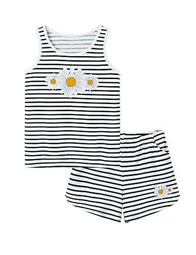 tank teens Girls Tank Top Pajamas – Size 6 8 10 12 14 16 18 Summer Shorts Stripe PJS Set Big Kids Clothes for Tween/Teens