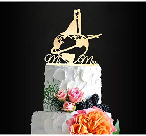Reis Thema Bruiloft Cake Topper Wereldkaart Cake Topper Vliegtuig Cake Topper Kaart Silhouette Houten