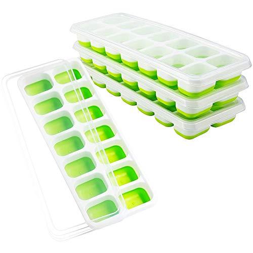 BPA lanzamiento de hielo Cube bandeja 14 cubos silicona hielo cubo fabricante molde para la fiesta de helados whisky cóctel frígido bebida (Color : Green)