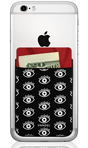 Vandel Pocket: Stick On Fabric Cell Phone Wallet | Credit Card Holder for Back of Smartphone Case | Stretchy Fabric Adhesive Sleeve Compatible with All Devices | Eyes