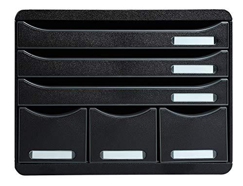 Exacompta 306714D Ablagebox Store-Box Maxi Ecoblack, mit 6 Schubladen, robust und praktisch, Schwarz, 1 Stück