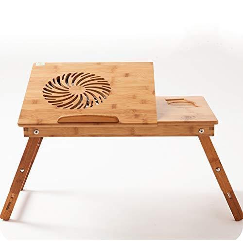 HCYTPL terrastafel, inklapbaar, van bamboehout, voor laptop, opvouwbaar, kantoor, in hoogte verstelbaar, dienblad, draagbaar, tafel, bed, tafel Withfan