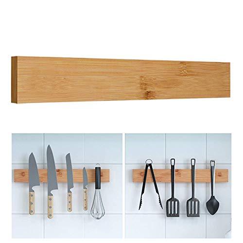 L.BAN Barre de Couteau magnétique en Bambou, Porte-Couteau Mural, Porte-Couteau magnétique, Porte-ustensiles de Cuisine pour Couteaux de tri, ustensiles de Cuisine et Outils, 40 cm