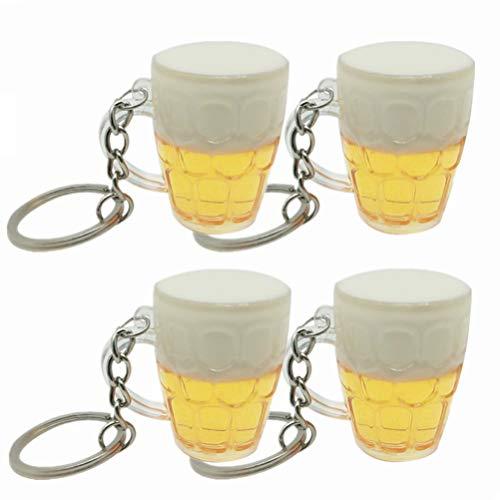 STOBOK 4 Stück Neuheit Schlüsselanhänger Bier Tasse Schlüsselanhänger Oktoberfest Party Supplies