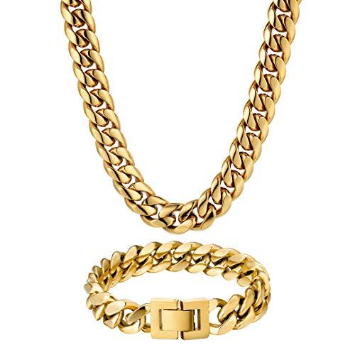 KRKC&CO 12mm Gold Cuban Link Chain Set, 18K Gold beschichtet Cuban Chains Cuban Armband, Gold Herren Panzerkette Kubanische Gliederkette für Männer Jungen, Goldkette Goldene Halskette Hip Hop Kette