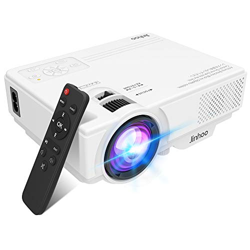 2020 Newest, Jinhoo Mini Overhead Projector Full HD 1080P Supported, Home Theater Outdoor Movie Projector with 176'' Projection Size 55000 Hours, Compatible with TV Stick, HDMI, VGA, AV and USB