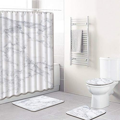 ETH marmeren patroon douchegordijn vloermat badkamer wc-bril vierdelige tapijt waterabsorptie vervaagt niet veelzijdig comfortabel badkamer mat kan machine gewassen duurzaam