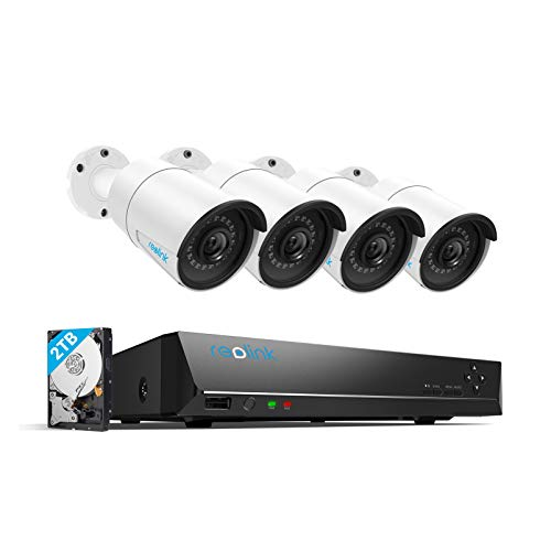 Reolink 4mp 8ch poe video surveillance system, 4pcs wired outdoor 1440p poe ip cameras, 8mp 5mp 4mp supported 8 channel nvr security system with 2tb hdd for 24/7 recording rlk8-410b4