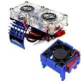 Powerhobby Motor Cooling Fan / HeatSink Dual Twin Fan + Velineon VXL-3s ESC Cooling Fan COMBO Blue Compatible WITH Traxxas Slash 4x4
