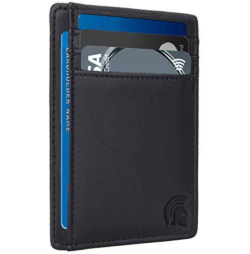 POWR Kartenetui platzsparend für bis zu 7 Kreditkarten, mit RFID Schutz und Schnellzugriff-Fach, Schwarz