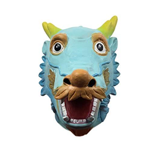 Toyvian Drachenkopf Maske Chinesische Tierkreis Drachen Kostüm Tier Kopfbedeckung Fotografie Requisiten Cosplay Zubehör für Karneval Leistung Maskerade Party
