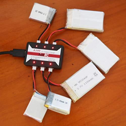 Monllack Caricabatterie, Hotrc A100 Caricabatteria Lipo 6 in 1 da 3,7 V con Protezione da sovratemperatura per Hubsan X4 Q4 H107L H107C Wltoys (Nero)