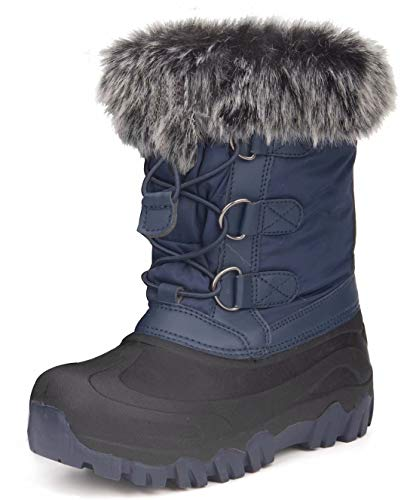 Outee Boys Snow Winter Boots for Kids Toddler Winter Warm Fur Lined Faux Solid Blue Rubber Lightweight Rain Boots Waterproof Shoes Adjustable Elastic Cinch Faux Fur Design Closure (Size 11,Blue)