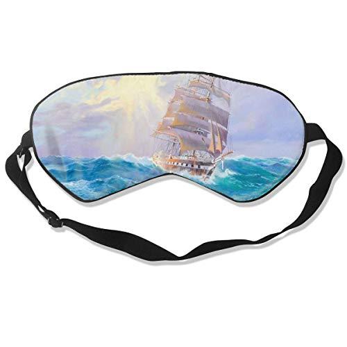 Preisvergleich Produktbild Schlafmaske aus 100 % Seide,  Motiv: Schiffe,  Malerei,  bequem,  weich,  bester Schlaf,  Augenbinde mit verstellbarem Riemen,  für Reisen,  Arbeit,  Nickerchen,  blockiert Licht
