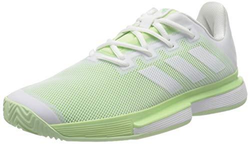 adidas Sole Match Bounce Allcourtschuh Damen-Hellgrün, Weiß, Zapatillas de Tenis Mujer, FTWR White FTWR White Glow Green, 41 1/3 EU