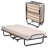 Giantex Folding Bed with Mattress, Rollaway Guest Bed W/Foam Mattress,...