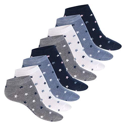 Footstar Damen Motiv Sneaker Socken (8 Paar), Kurze süße Söckchen mit Mustern - Jeans 35-38