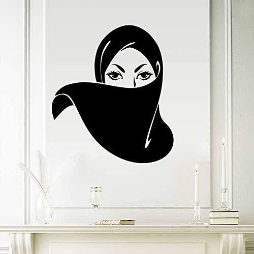 JXFM Gezicht van het Arabisch muzilisch masker vrouw Islam muursticker woonkamer slaapkamer kinderkamer decoratie wandtattoo behang 57x65 cm