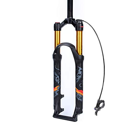 Xiami Mountain Bike Front Suspension Fork 26'/27.5'/29' Lightweight Aluminum-Magnesium Alloy Air Forks Bike Shock Absorber Manual and Remote Lockout Black+Gold Tube+Green Sign