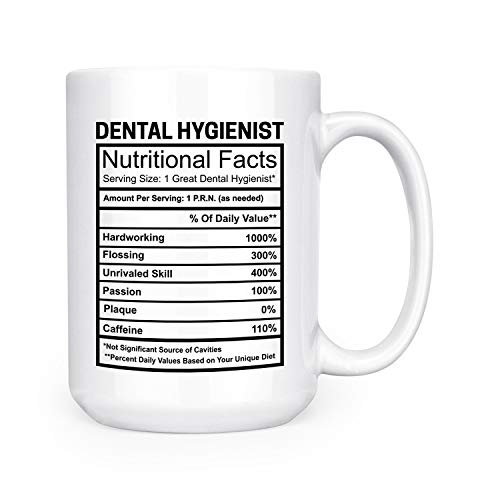 Occupational Nutritional Facts Ingredients Label Mug - 15 oz Deluxe Double-Sided Coffee Tea Mug (Dental Hygienist)