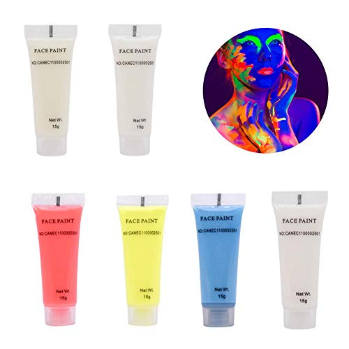 Zelfoplichtend pigment, 6 kleuren fluorescerend poeder voor festivals, feestjes en kinderschilderijen, niet giftig, geen straling, lichtgevende pigmenten, gemakkelijk te reinigen 6 kleuren.