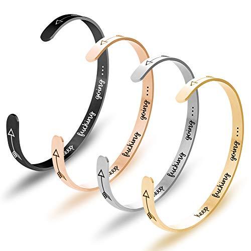 4 pulseras de acero inoxidable con alfabeto inspiradoras, aliento, regalo de amigo, para hombres y mujeres, 4 colores (pulseras Keep Going).