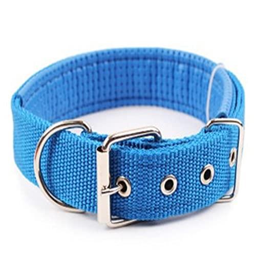 ZZCR Collar De Perro Mascota Collar De Perro De Esponja De Espuma Collar De Nailon para Mascotas Forro De Cuero Suave Collar para Mascotas Azul 2mmx48mm