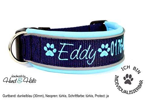 Hund&Hals - Halsband 1.0 - Hundehalsband Gurtband mit Neopren mit WUNSCHTEXT