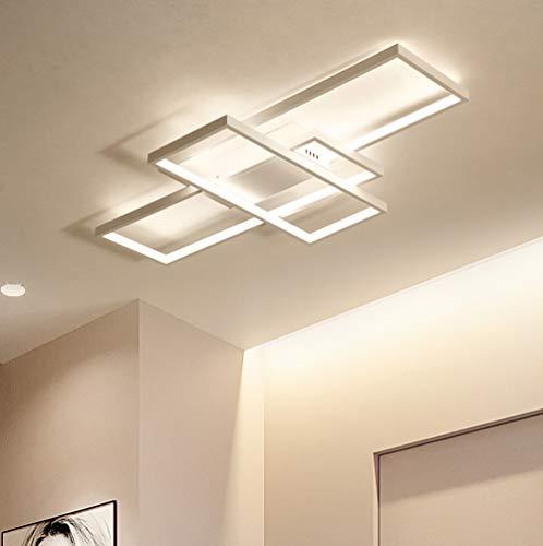 Moderna Lampara de Techo Para Salon Dormitorio Decorativa LED con Mando a Distancia Lampara de Comedor Diseno Cuadrado Pantalla Acrilica Lampara de Pasillo Lampara Iluminacion de Cocina Cuarto de Bano