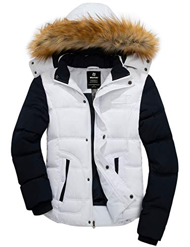 Wantdo Men's Winter Warm Puffer Coat Casual Hooded Warm Outwear Jacket White L