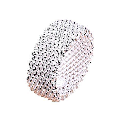Lovelegis Anello da Donna - Flessibile - Elasticizzato - Maglie Metalliche - Elastico - Colore Argento