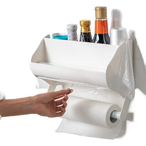Soporte de pared para toalla de papel y papel de aluminio, dispensador de plástico con cortador, organizador magnético para nevera,...